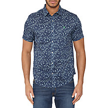 Buy Original Penguin Short Sleeve Reverse Ditsy Floral Shirt, Dress Blues Online at johnlewis.com