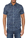 Original Penguin Short Sleeve Reverse Ditsy Floral Shirt, Dress Blues