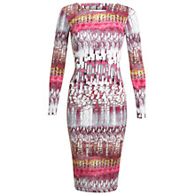 Buy Miss Selfridge Linear Print Midi Bodycon Dress, Assorted Online at johnlewis.com