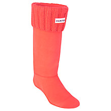 Buy Hunter Chunky Rib Boot Socks, Bright Coral Online at johnlewis.com
