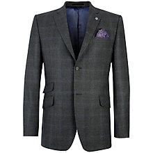 Buy Ted Baker Endurance Flannel Overcheck Suit Jacket, Grey / Blue Online at johnlewis.com