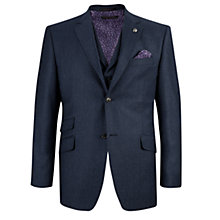 Buy Ted Baker Belsutj Sterling Flannel Tailored Suit Jacket, Indigo Online at johnlewis.com