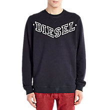 Buy Diesel Bansi Crew Neck Cotton Jumper, Black Online at johnlewis.com