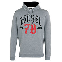 Buy Diesel Hooded Sweatshirt Sanj 78 Logo, Charcoal Online at johnlewis.com