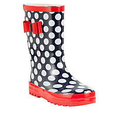 Buy John Lewis Bow Trim Polka Dot Wellington Boots, Navy/Red Online at johnlewis.com