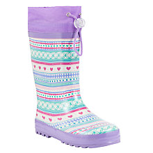 Buy John Lewis Fair Isle Print Wellington Boots, Lilac/Multi Online at johnlewis.com
