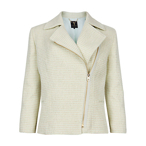 Buy Ted Baker Cropped Boucle Noira biker Jacket, Pale Green Online at johnlewis.com