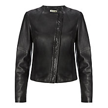 Buy Whistles Nanette Clean Leather Jacket, Black Online at johnlewis.com