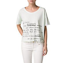 Buy Mango Message Cropped T-Shirt, White Online at johnlewis.com