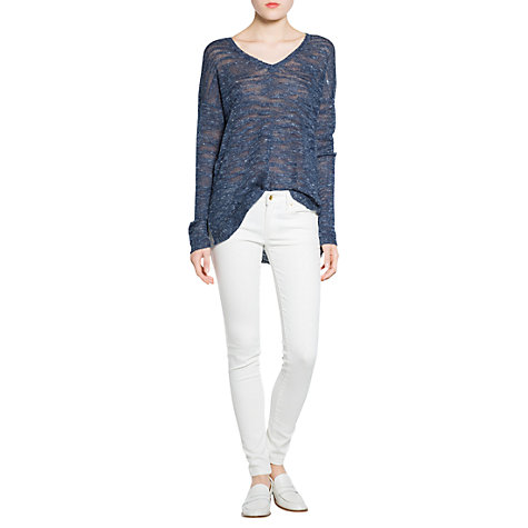 Buy Mango Linen-Blend Jumper, Navy Online at johnlewis.com
