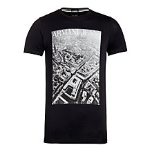 Buy Armani Jeans Milan Cityscape Print T-Shirt, Navy Online at johnlewis.com