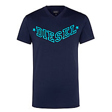 Buy Diesel Graphic Logo V-Neck T-Shirt, Navy Online at johnlewis.com