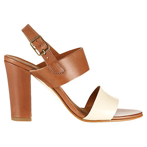 Buy Jigsaw Maria Strap Block Heel Leather Sandals, Tan/White Online at johnlewis.com