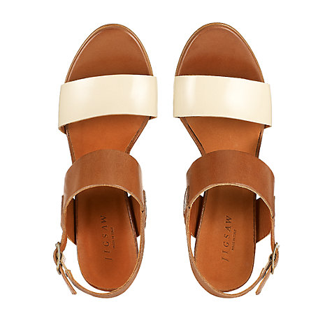 Buy Jigsaw Maria Strap Block Heel Sandals, Tan/White Online at johnlewis.com
