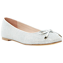 Buy Dune Meanda Fabric Glitter Ballerina Pumps, Silver Online at johnlewis.com
