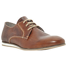 Buy Dune Braille 1 Leather White Wedge Derby Shoes, Tan Online at johnlewis.com