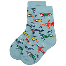 Buy Cath Kidston Childrens' Planes Slipper Socks, Blue/Multi Online at johnlewis.com