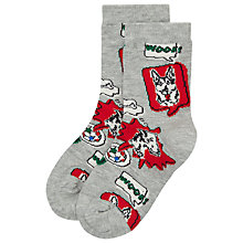 Buy Cath Kidston Childrens' Dog Socks, Grey/Red Online at johnlewis.com