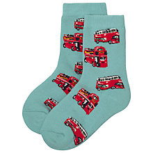 Buy Cath Kidston London Bus Slipper Socks, Blue/White Online at johnlewis.com