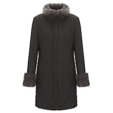 Buy John Lewis Fur Collar Quilted Coat, Black Online at johnlewis.com