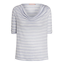 Buy John Lewis Linen Cowl Neck Top, Blue/White Stripe Online at johnlewis.com