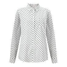 Buy John Lewis Spot Shirt, White/Navy Online at johnlewis.com