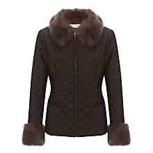 Buy John Lewis Fur Collar Quilted Jacket, Black Online at johnlewis.com