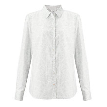 Buy John Lewis Floral Printed Shirt, White/Taupe Online at johnlewis.com