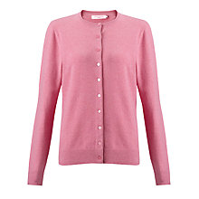 Buy John Lewis Plain Crew Neck Cardigan, Pink Online at johnlewis.com
