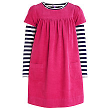 Buy John Lewis Girl Corduroy Stripe Sleeves Pinafore Dress, Pink Online at johnlewis.com