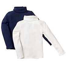 Buy John Lewis Turtleneck Tops, Pack of 2, Navy/White Online at johnlewis.com