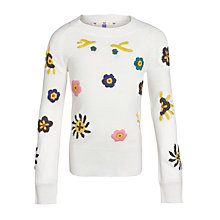 Buy John Lewis Girl Embroidered Tunic Jumper, White/Multi Online at johnlewis.com