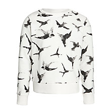 Buy John Lewis Girl Bird Print Jumper, White Online at johnlewis.com