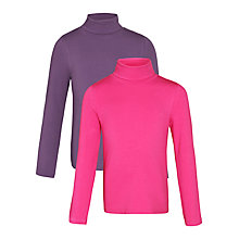 Buy John Lewis Girl Turtleneck Tops, Pack of 2, Pink/Purple Online at johnlewis.com