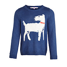 Buy John Lewis Girl Intarsia Knit Dog Jumper, Bijou Blue Online at johnlewis.com