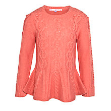 Buy John Lewis Girl Owl Cable Knit Jumper, Pink Online at johnlewis.com
