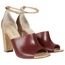 Buy Hobbs Freya Block High Heeled Sandals, Oxblood Pink Online at johnlewis.com