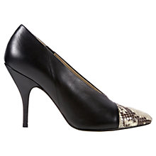 Buy Hobbs Elvie Leather Contrast Toecap Court Shoes, Black/Dark Silver Online at johnlewis.com