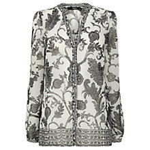 Buy Oasis Paisley Mexicana Blouse, White Online at johnlewis.com
