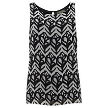 Buy Mint Velvet Faith Print Top, Black/Ivory Online at johnlewis.com