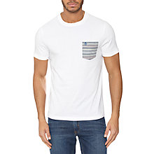 Buy Original Penguin Stripe Pocket T-Shirt, White Online at johnlewis.com
