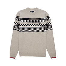 Buy Fred Perry Tipped Island Knit Sweater, Moon Mist Marl Online at johnlewis.com