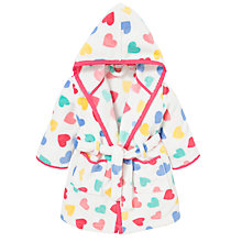 Buy John Lewis Heart Print Robe, White/Multi Online at johnlewis.com