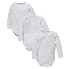 Buy John Lewis Baby Plain Long Sleeve Bodysuits, Pack of 3, White Online at johnlewis.com