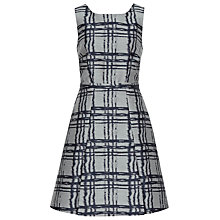 Buy Reiss Check Fit and Flare Peron Dress, Grey/Navy Online at johnlewis.com