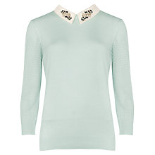 Buy Ted Baker Embellished Collar Helane Jumper, Mint Online at johnlewis.com