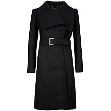 Buy Ted Baker Draped Front Madigan Coat, Black Online at johnlewis.com