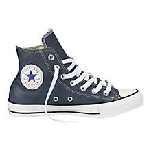 Buy Converse Chuck Taylor All Star Leather High Top Trainers, Navy Online at johnlewis.com