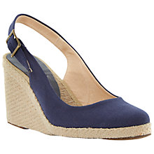 Buy Dune Black Imperia D Fabric Slingback Wedge Espadrilles, Blue Online at johnlewis.com