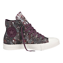 Buy Converse Chuck Taylor All Star Tribal Feather High Top Trainers, Violet / Black Online at johnlewis.com